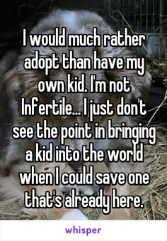 "Someone posted a whisper, which reads ""I would much rather adopt than have my own kid. I'm not Infertile. I just don't see the point in bringing a kid into the world when I could save one that's already here. Whisper Quotes, Whisper Confessions, Whisper App, Childfree, Gives Me Hope, Faith In Humanity Restored, Cute Stories, Literally Me, Describe Me"