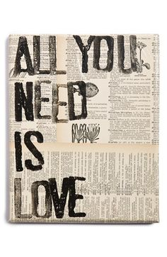 Free shipping and returns on CANTON BOX CO. 'All You Need Is Love' Wall Art at Nordstrom.com. Vintage dictionary pages and a weathered, hand-painted quote add striking literary flair to this conversation-sparking canvas wall art.<br><br>This item is presented in special partnership with Etsy, an online community of small-scale makers and artists whose quality-crafted goods represent the best in current DIY, artisanal and homegrown trends. Nordstrom curates a rotating, limited-quantity ...