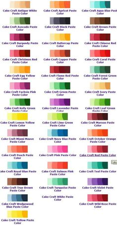 Icing Color Chart, Color Mixing Chart, Food Coloring Chart, Gel Food Coloring, Cake Decorating Icing, Cake Decorating Techniques, Buttercream Techniques, Satin Ice Fondant, Sugar Cookie Cakes