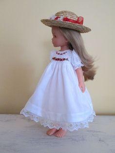 "Smocked Dress & Hat for 13"" Effner Little Darling Doll-Red Roses-SJ #sharonjoanworksdesigns"