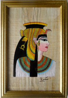 Hand-Painted on a fine hand-made authentic Egyptian Papyrus, this painting of Cleopatra's head portrait, is framed in a beautiful classic gold, natural wood frame and signed by the native Egyptian female artist:  Samira First Prize winner of Cairo Festival of Art 2002.    Queen Cleopatra  (69 B.C. - 30 B.C.) was the last Pharaoh of ancient Egyptian history.   She aligned herself with Julius Caesar to ...