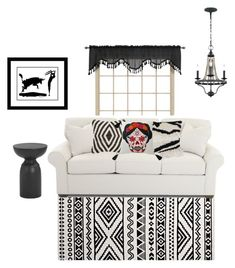 """""""Black and White Boho"""" by cypress-soleil ❤ liked on Polyvore featuring interior, interiors, interior design, home, home decor, interior decorating and Feiss"""