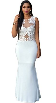 Womens Sexy Lace Crochet See Through Party Clubwear Cocktail Mermaid Maxi Dress White XL * Be sure to check out this awesome product.