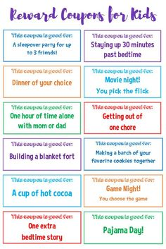 these free printable reward coupons for kids to positively reinforce good behavior. Your kids will love them and they don't cost you a dime! Chore Rewards, Behavior Rewards, Kids Rewards, Reward Coupons, Reward Chart Kids, Reward System For Kids, Reward Ideas, Behavior Charts For Kids, Rewards Chart