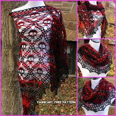 Crochet Scarves, Crochet Shawl, Crochet Clothes, Crochet Stitches, Free Crochet, Knit Crochet, Crochet Skull Patterns, Halloween Crochet Patterns, Shawl Patterns
