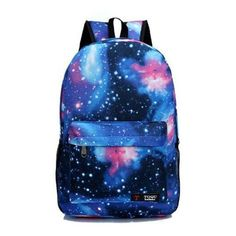 Women's Printing Casual Backpack Galaxy Stars Universe Space School... ($7.99) ❤ liked on Polyvore featuring bags, backpacks, backpack, blue, galaxy print backpack, day pack backpack, rucksack bags, star bag and blue bag