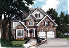 Hillsborough - Home Plans and House Plans by Frank Betz Associates Traditional House Plans, Traditional Exterior, Traditional Design, Future House, My House, American Home Design, Affordable House Plans, American Houses, Atlanta Homes
