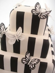 Black and white stripe butterfly wedding cake