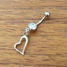 Heart belly piercing ring by PrettiiJewels on Etsy