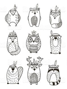 Set of vector hand drawn indian totem animal. Set of vector hand drawn indian totem animal.,Egg art Tribal Animal collection – Illustration royalty-free tribal animal collection illustration stock vector art & more images of american culture Penguin Illustration, Cactus Illustration, Illustration Vector, Illustrations, Doodle Drawings, Doodle Art, Free Vector Art, Vector Hand, Vector Vector