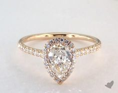 14K Yellow Gold Pave Halo and Shank Diamond Engagement Ring (Pear Center)