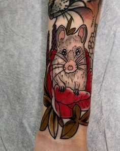 Mouse hiding in the flowers done by Mouse Tattoos, Nature Tattoos, Flowers, Animals, Animales, Animaux, Florals, Animal Memes, Animal