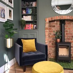 Newest Photo open Brick Fireplace Popular We love this snug in this Edwardian home with the deep green walls and exposed brick fireplace. Brick Wall Living Room, Exposed Brick Wall Living Room, Living Room Green, Home Living Room, Brick Interior Wall, Snug Room, Log Burner Living Room, Cottage Living Rooms, Cosy Living Room