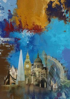 ARTFINDER: 'London Skies' (BLUE) - Abstract Expr... by Czar Catstick - Abstract Expressionist London Skyline including The Houses of Parliament, Big Ben, The River Thames, St Pauls, The Gherkin, London Eye and The Shard. Part of...
