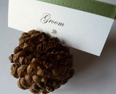 Fab idea for an Autumn Themed Wedding .. pinecones with printed placecards placed inside