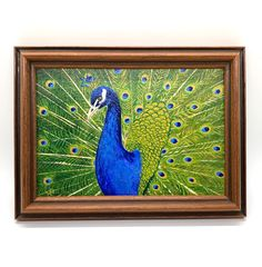 Excited to share the latest addition to my #etsy shop: Peacock Painting with Wooden Frame #painting #blue #art #mothersday