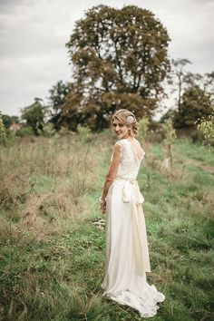 Stunning 1930's inspired modern vintage wedding dress by Charlie Brear, photographed by Gorgeous 1930s inspired modern day wedding dress by Charlie Brear, captured by http://www.kat-hill.com/, from 'A Sweet September Wedding With A Touch of 1930's Glamour, Pom Poms, Peach, Gold and Blue'