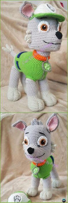 Crochet Paw Patrol Rocky Dog Amigurumi Free Pattern - Amigurumi Puppy Dog Stuffed Toy Patterns