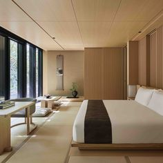 Designed to evoke the classic Japanese Ryokan inn with its clean lines and spaci. Modern Japanese Interior, Japanese Modern House, Japanese Interior Design, Japanese Home Decor, Home Interior Design, Japanese Decoration, Modern Design, Japanese Style Bedroom, Japanese Living Rooms