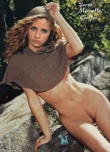 Buffy Summers shows off that delectable pussy outdoors