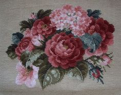Modern needlepoint worked from a Victorian-era pattern. Embroidery Patterns Free, Hand Embroidery, Quilt Patterns, Cross Stitch Rose, Crossstitch, Beautiful Roses, Victorian Era, Silk Flowers, Needlepoint