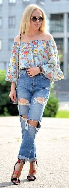 #spring #summer #fashionista #outfitideas | Floral Off The Shoulder Top + Ripped Denim