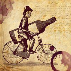 O mascote da Confraria Vinhos de Bicicleta. Arte de Gabriel Ronconi.