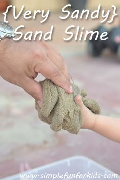 {Very Sandy} Sand Slime - Simple Fun for Kids...  Fun in the winter when the sandbox outside is frozen :-)