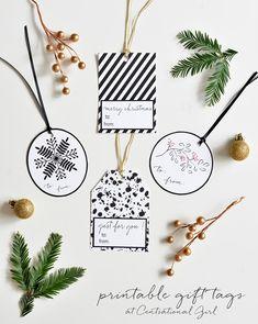 black + white printable holiday gift tags