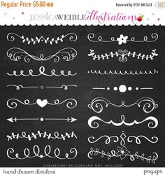 ON SALE Hand Drawn Text Dividers Vintage by JWIllustrations