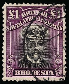 Rhodesien, Scott 138a var footnot, SG 311a. 138a var footnoted (311a) 1923 £1 black and deep magenta K George V Admiral, double plates, Head Die III, perf 14, lightly canceled, very well centered, SUPERB  Erhaltung   Anbieter Colonial Stamp Company  Saalauktion Ausruf: 715.00 US$ (ca. 566 EUR)