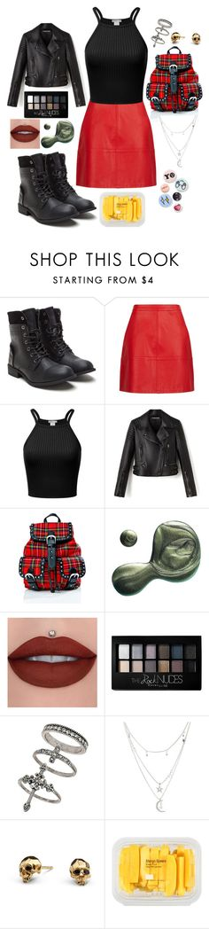 """""""Punk"""" by disney-geek-forever on Polyvore featuring Current Mood, Illamasqua, Maybelline, Miss Selfridge, Charlotte Russe, Kasun, MANGO and Bing Bang"""