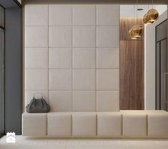 przyjemne wejscie, tapicerowana sciana i duze lustro, za dlugie siedzisko Hallway Designs, Foyer Design, Hall Design, Design Hotel, House Design, Interior Exterior, Home Interior, Modern Interior Design, Upholstered Walls