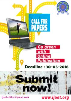 Go green with online publication in IJAET. Online Publications, Go Green, Journal, Paper, Journals