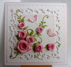Catty Creations White linen card Crafts Too square embossing folder Spellbinders Fleur de Lys Squares Die-namics Leafy Flourish die Die-namics mini rolled roses dies Die-namics rolled rose die Butterfly Cards, Flower Cards, Paper Flowers, Daughter Birthday Cards, Quilled Roses, Shabby Chic Cards, Spellbinders Cards, Quilling Patterns, Get Well Cards