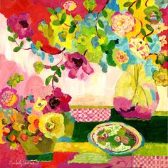 Pink Check Blossoms Vivid print of flowers and table setting, giclee print on stretched can...   from$48.00