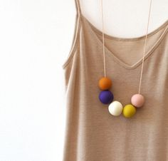 not quite round handmade beads make a necklace by notTuesday Polymer Clay Necklace, Polymer Clay Beads, Polymer Clay Crafts, Handmade Beads, Handmade Jewelry, Diy Accessoires, Precious Metal Clay, Chunky Beads, Bijoux Diy