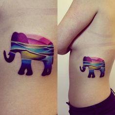 Linear Colors Elephant Side Body Tattoo
