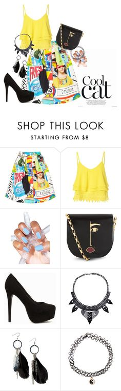 """""""COOL CAT"""" by vaishnavilal on Polyvore featuring Moschino, Glamorous, Lulu Guinness, Nly Shoes, MANGO, Monsoon, women's clothing, women, female and woman"""