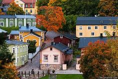 Porvoo: Autumn colours in the Old Town of Porvoo, the second oldest city in Finland, located on the southern coast east of Helsinki. Helsinki, Scandinavian Countries, Alaska, Baltic Sea, Wooden House, Old Town, Beautiful Places, Around The Worlds, City
