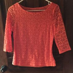 Banana republic top Super cute top worn once! Coral lace top. Tag says size 6 but it's more a 2 I'd say. *banana republic but listing as j crew for parties* 3/4 sleeve J. Crew Tops