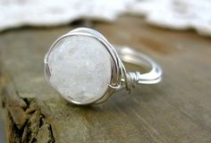 Winter Spirit // Snow Quartz Druzy Sterling Silver Wire Wrapped Ring//Custom Made//Meditation Stone //Zen // Classic// Statement Ring