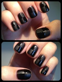 Gelish nail art. Using a buffing technique then glossing sections. Now they made a matte polish