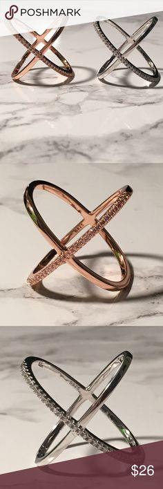 X Criss Cross Ring with CZ Accent Available in Rose Gold and Silver. S925 Jewelry Rings