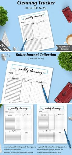 he Bullet Journal system makes it easy to track everything, including  cleaning and household chores. Our Cleaning Tracker has a minimal Bullet  Journal design that lets you easily track your daily & weekly  cleaning tasks but also other chores related to the household. Print one  sheet every week and enjoy a clean and clutter-free home! #bulletjournals #ad #organize #printable #cleaningtracker