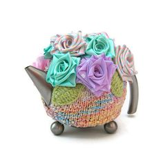 Knitted tea cozy cottage chic pastel flowers teapot cosy by jarg0n, £35.00