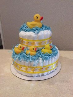 Duck Diaper Cake w/Goodies Inside by on Etsy Baby Cakes, Baby Shower Cakes, Baby Shower Diapers, Baby Shower Gifts, Baby Gifts, Ducky Baby Showers, Baby Shower Duck, Rubber Ducky Baby Shower, Duck Diapers