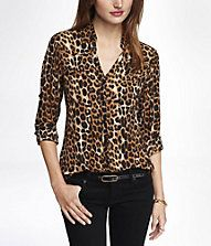 From Express  LEOPARD PRINT CONVERTIBLE SLEEVE PORTOFINO SHIRT Express  Portofino Shirt ba7d76a90
