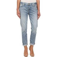 7 For All Mankind Josefina in Aura Blue Heritage Women's Jeans, Blue ($151) ❤ liked on Polyvore featuring jeans, blue, boyfriend jeans, blue jeans, distressed jeans, destructed boyfriend jeans and tapered jeans