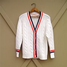 vintage Bright White Cable Knit Cardigan Sweater with Red, White and Blue Trim